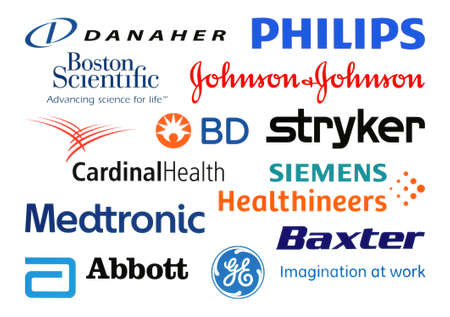 Kiev, Ukraine - February 23, 2020: Logos collection of the biggest world medical equipment manufacturers, such as: Danaher, Boston Scientific, Johnson & Johnson, Stryker, Becton Dickinson, and others