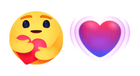 Kiev, Ukraine - April 18, 2020: New Facebook and Messenger like button Empathetic Emoji Reactions, printed on paper. Facebook is adding a hug reaction to show you care during the COVID-19 pandemic