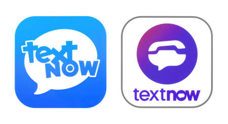 Kiev, Ukraine - November 02, 2019: TextNow old and new icons printed on white paper. TextNow is a phone service without the phone bill