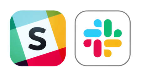 Kiev, Ukraine - November 02, 2019: Old and New icons of Slack app, printed on white paper. Slack is a cloud-based proprietary instant messaging platform developed by Slack Technologies