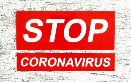 Stop Coronavirus concept, on wooden background close-up Imagens