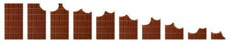 Set of bitten milk chocolate bars isolated on white background close-up