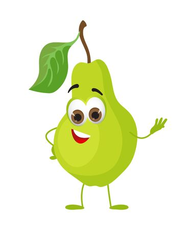 Funny Pear with eyes. Cartoon funny fruits characters flat vector illustration