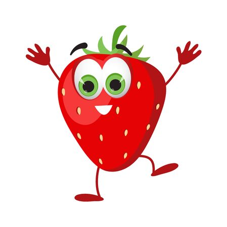 Funny Strawberry with eyes. Cartoon funny fruits characters flat vector illustration Ilustração