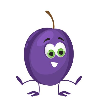 Funny Plum with eyes. Cartoon funny fruits characters flat vector illustration