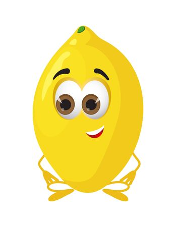 Funny Lemon with eyes. Cartoon funny fruits characters flat vector illustration Imagens - 147365916