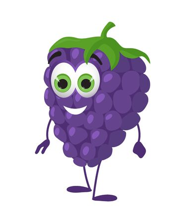 Funny Grape with eyes. Cartoon funny fruits characters flat vector illustration