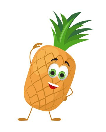 Funny Pineapple with eyes. Cartoon funny fruits characters flat vector illustration Ilustração