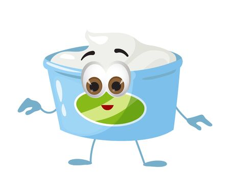Funny Yogurt with eyes on white background, funny products series, flat vector illustration