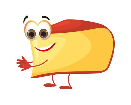 Funny Piece of Cheese with eyes on white background, funny products series, flat vector illustration