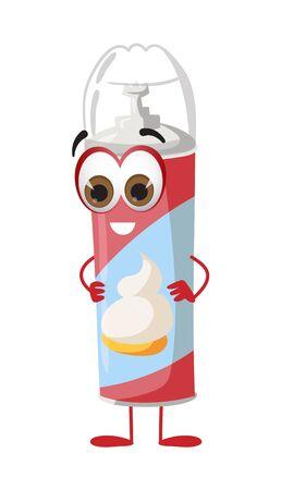 Funny Cream Bottle with eyes on white background, funny products series, flat vector illustration Ilustração