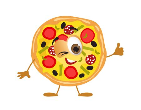 Funny Pizza with eyes on white background, funny products series, flat vector illustration