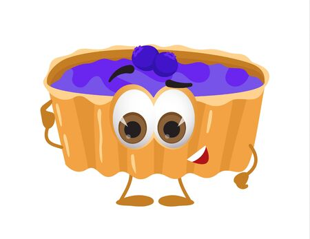Funny Cake with eyes on white background, funny products series, flat vector illustration