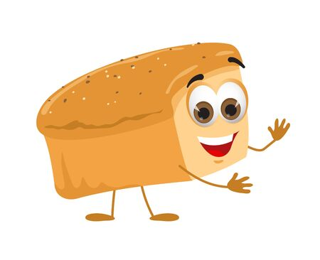 Funny Bread with eyes on white background, funny products series, flat vector illustration