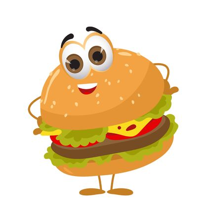 Funny Burger with eyes on white background, funny products series, flat vector illustration Illustration