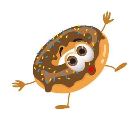 Funny Donut with eyes on white background, funny products series, flat vector illustration Illustration