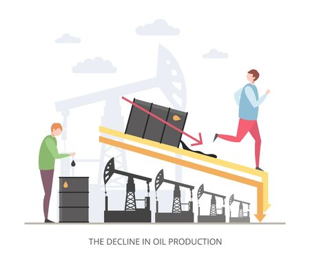 The Decline in Oil Production concept, flat vector illustration