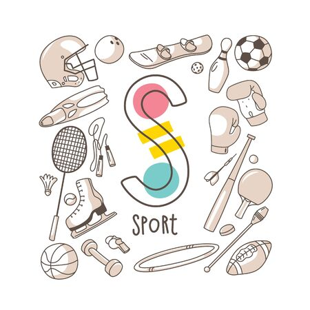 Letter S - Sport, cute alphabet series in doodle style, vector illustration