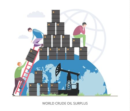 World Crude Oil Surplus concept, flat vector illustration Illustration