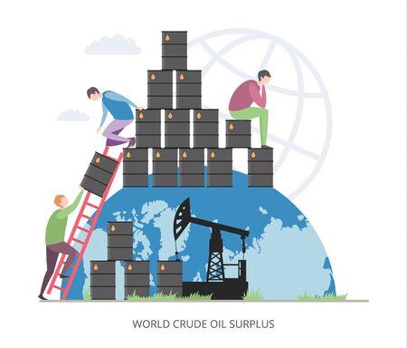 World Crude Oil Surplus concept, flat vector illustration Ilustrace
