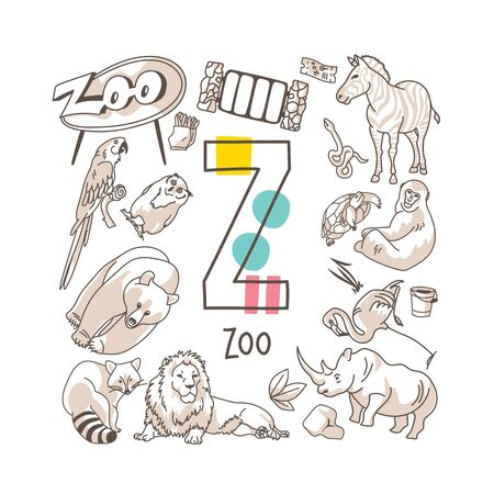 Letter Z - Zoo, cute alphabet series in doodle style, vector illustration