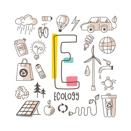 Letter E - Ecology, cute alphabet series in doodle style, vector illustration 矢量图像
