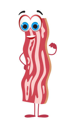 Funny raw bacon on white background, funny character collection, flat vector illustration 矢量图像