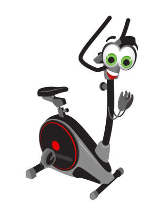 Funny stationary bicycle on white background, fitness collection, flat vector illustration 矢量图像