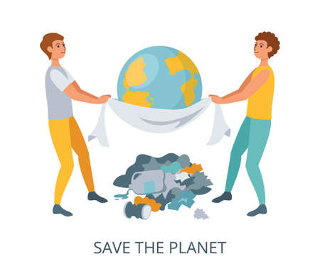 Save the Planet concept, flat design vector illustration close-up 矢量图像