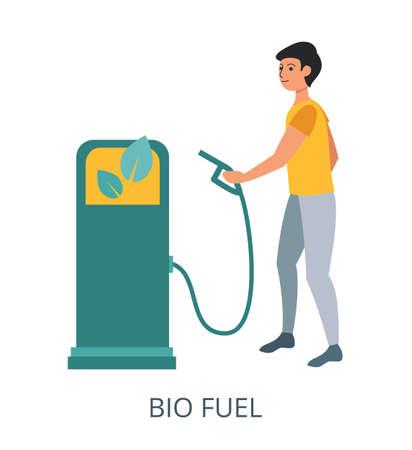 Bio Fuel concept, flat design vector illustration close-up