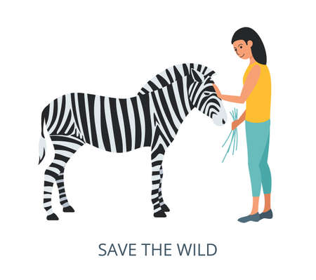 Save the Wild concept, flat design vector illustration close-up