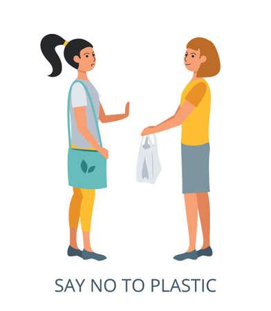 Say No to Plastic concept, flat design vector illustration close-up