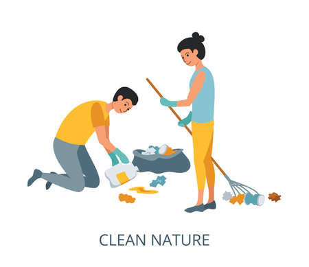 Clean Nature concept, flat design vector illustration close-up