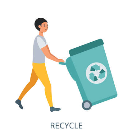 Recycle concept, flat design vector illustration close-up 矢量图像