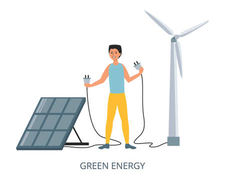 Green Energy concept, flat design vector illustration close-up