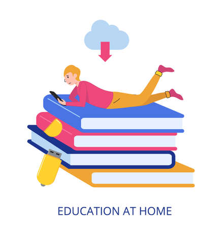 Education At Home concept, flat design vector illustration close-up