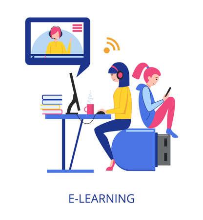 E-Learning concept, flat design vector illustration close-up Vektorgrafik