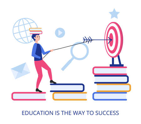 Education Is The Way To Success, flat design vector illustration close-up