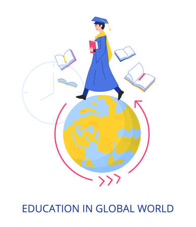 Education In Global World concept, flat design vector illustration close-up
