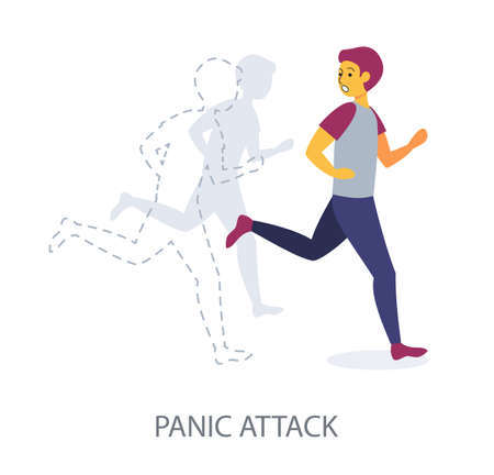 Panic Attack concept on white background, flat design vector illustration 矢量图像