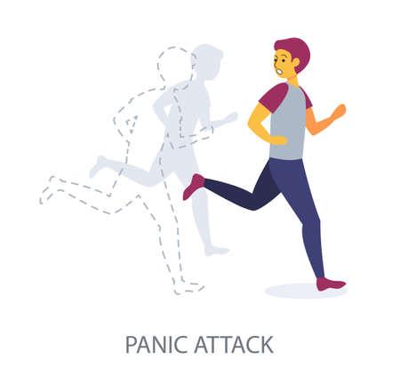 Panic Attack concept on white background, flat design vector illustration Illustration