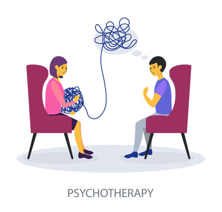 Psychotherapy concept on white background, flat design vector illustration 矢量图像