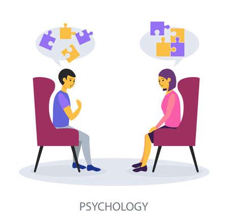 Psychology concept on white background, flat design vector illustration