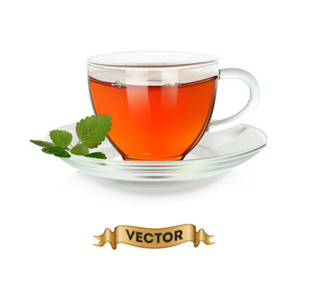 Cups of tea with green leaves on white background, realistic vector illustration