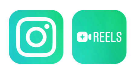 Kiev, Ukraine - September 21, 2020: Instagram and Instagram Reels icons, printed on paper. Instagram launches Reels for making and sharing short videos, it is a clonee of TikTok. 新闻类图片