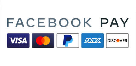 Kiev, Ukraine - August 25, 2020: Facebook Pay works with multinational financial services such as: Visa, Mastercard, PayPal, American Express and Discover, printed on paper