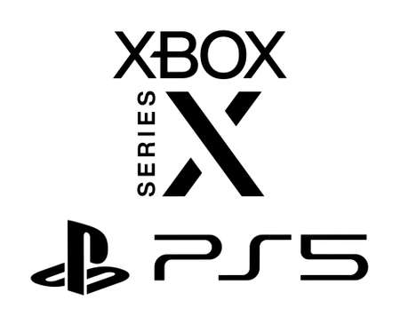 Kiev, Ukraine - September 21, 2020: Microsoftr XBox Series X and Sony Playstation 5 logos, printed on paper. Xbox Series X and the PlayStation 5 are the forthcoming next-gen games consoles 新闻类图片