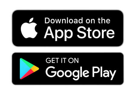 Kiev, Ukraine - September 21, 2020: Download on the App Store and Get it on Google Play button icons, printed on paper