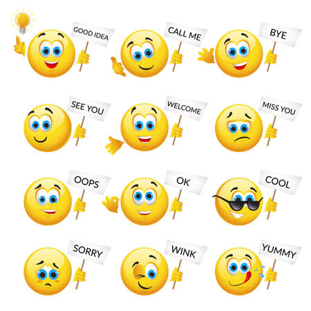 Set of Yellow emoticons and emojis. Vector illustration in realistic style close-up Vektorové ilustrace