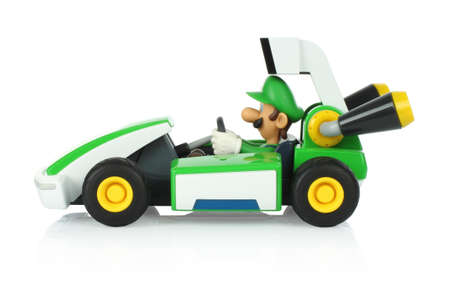 December 28, 2020: Toy kart from Mariokart Live Home Circuit video game, Luigi set, on white backgorund. Mariokart Live Home Circuit is video game developed and published by Nintendo